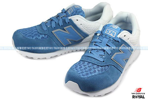 New Balance 574 藍/白 麂皮 皮質 網布 輕量 慢跑鞋 NO.R0354