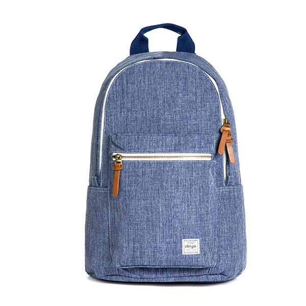 後背包 / deya-單寧風潮後背包-藍色 立體剪裁 牛仔布紋 迷彩撞色