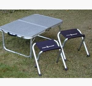【【蘋果戶外】】Go Sport 92280 鋁合金框二段式小桌椅套裝組 可收納成手提箱式 40x60cm 一桌附二椅 折合桌子 折疊桌 和室泡茶