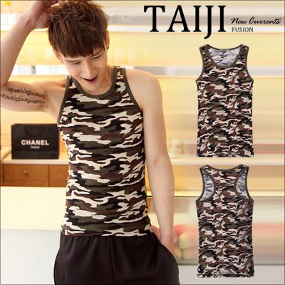 TAIJI【NTJBB11】街頭風格‧軍裝風滿版迷彩配色滾邊挖背造型背心‧一色‧條紋/設計/美式