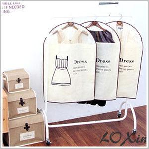 Loxin【SA0100】韓國棉麻衣物防塵罩 洋裝收納 衣物收納 防塵袋 (小號Dress3件組)