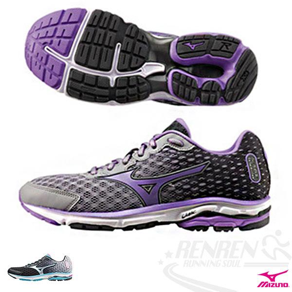 MIZUNO 美津濃  WAVE RIDER 18 女慢跑鞋 路跑(黑*灰*紫)2015年下半年新款