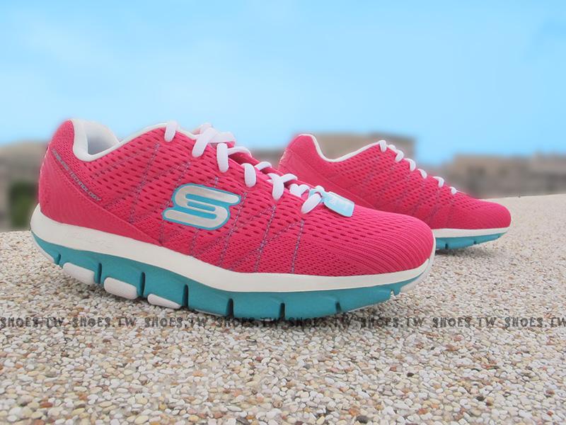 Shoestw【99999877HPTQ】SKECHERS 健走鞋 U型鞋設計 記憶乳膠鞋墊 桃紅 綠 透氣布面