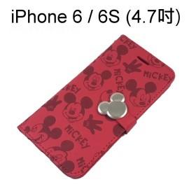 迪士尼金屬扣皮套 [紅] 米奇 iPhone 6 / 6S (4.7吋)【正版授權】