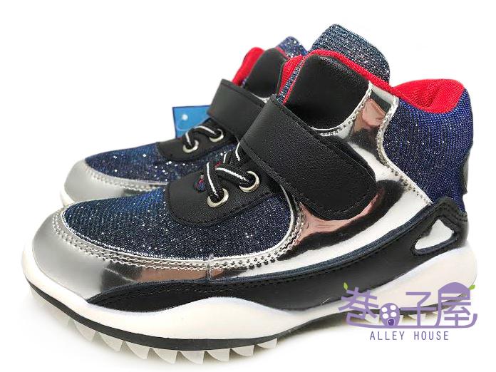 【巷子屋】知星王子 童款高統金屬漆皮面魔鬼氈運動休閒鞋 [705] 藍黑 超值價$198