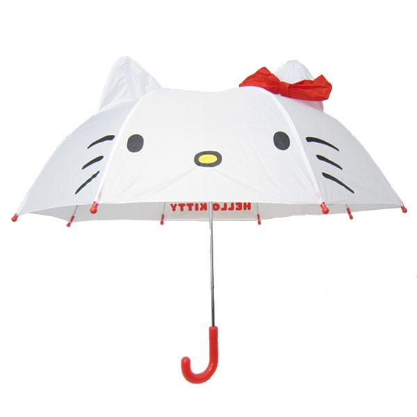 【真愛日本】16080400021立體造型雨傘47cm-KT大臉紅結    三麗鷗 Hello Kitty 凱蒂貓  雨晴傘 造型傘