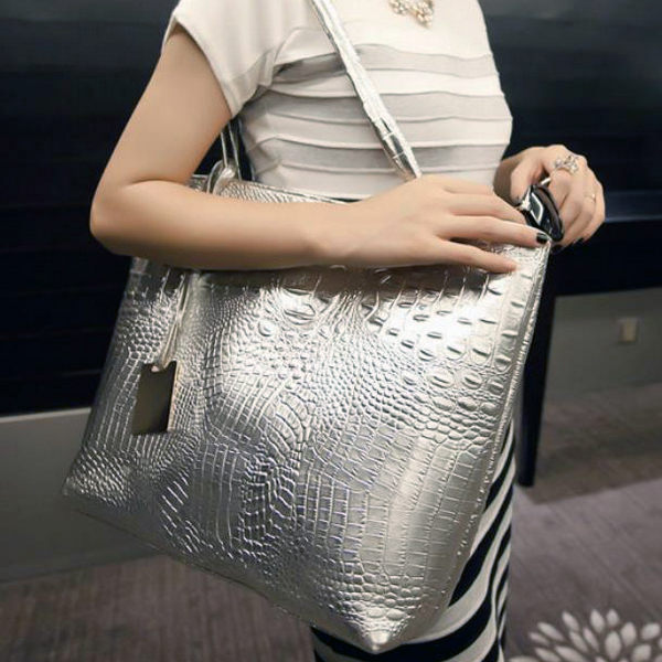 肩背包質感鱷魚紋歐美手提包銀色-JC Collection