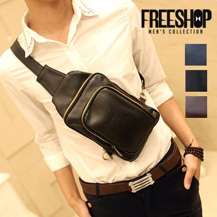 單肩包 Free Shop【QFSTY0117】日韓風格多層設計皮革多功能百搭單肩斜背包單車包 三色