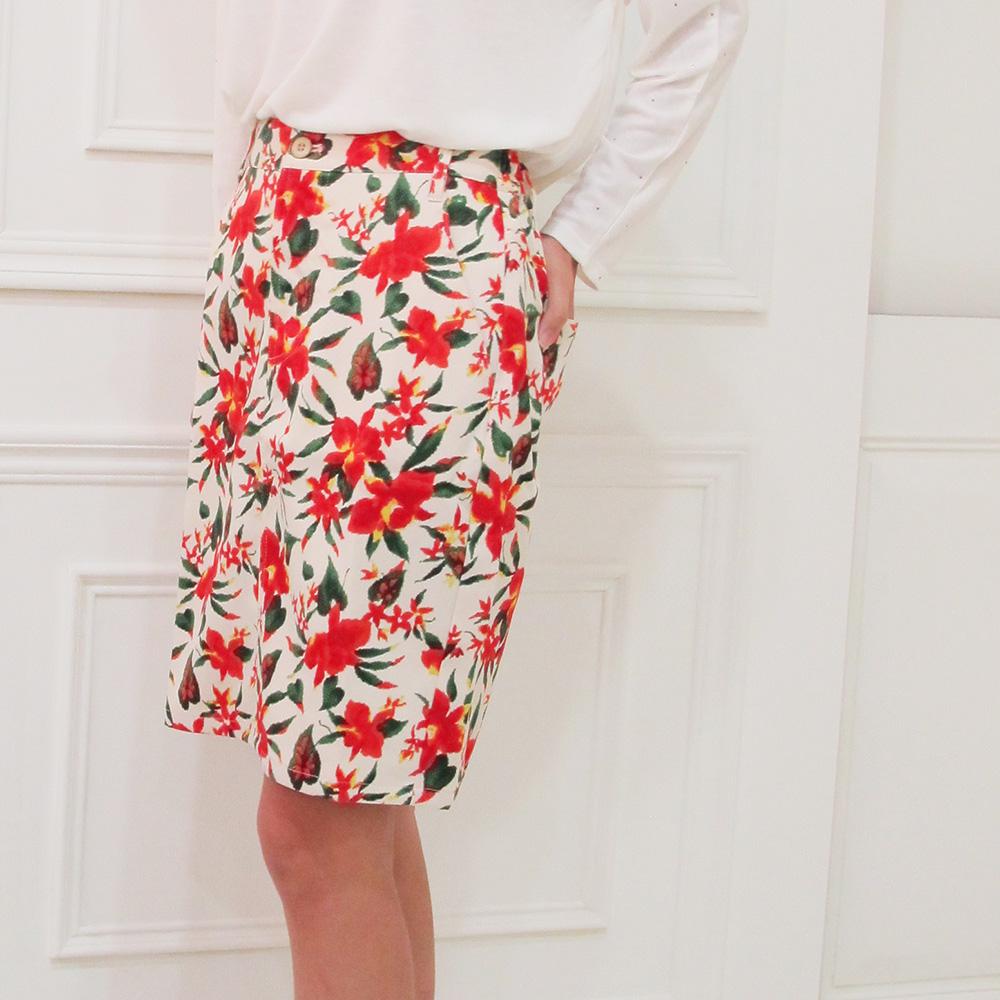 花花硬挺及膝窄裙-2 colors