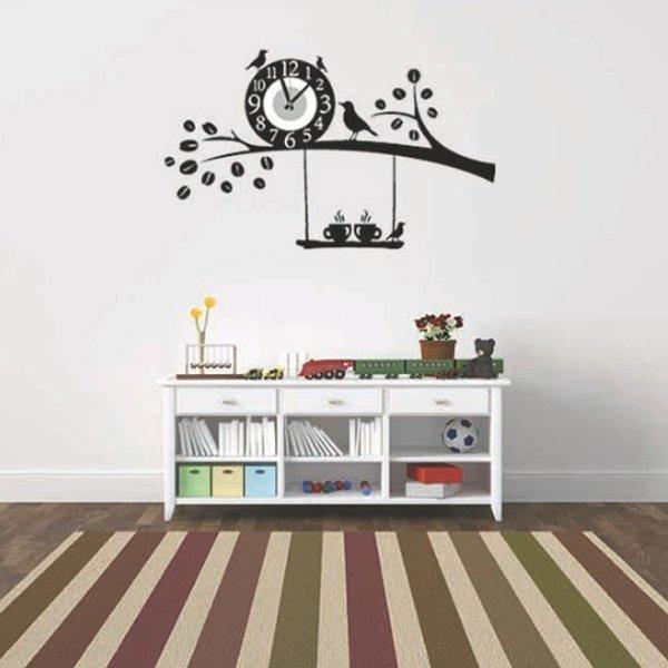 BO雜貨【YV0021】時鐘壁貼 枝頭小鳥 居家裝潢佈置 牆貼壁紙貼紙