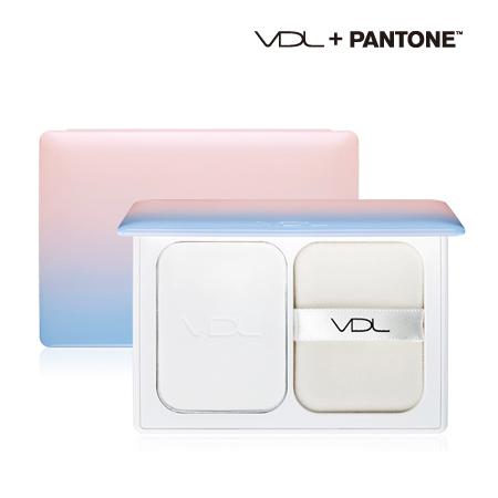 韓國 VDL X Pantone 絲滑定妝蜜粉餅(附粉撲) 10g 玫瑰石英粉 寧靜粉藍【N201603】