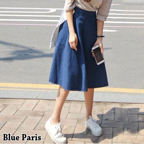 牛仔裙 - 大口袋造型側邊拉鍊A字中長傘裙【23291】藍色巴黎-現貨+預購