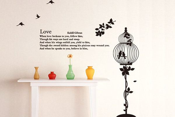 BO雜貨【YV2652】時尚組合鳥籠壁貼 牆貼 壁紙壁貼紙 創意璧貼 幸福鳥 壁貼之家