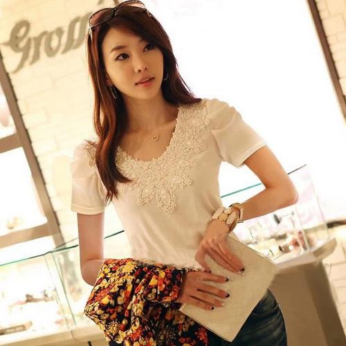 YJY蕾絲領公主袖彈力棉T恤[71091]-2色全尺碼