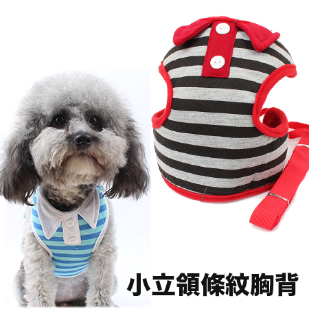 【小樂寵】小立領Polo衫式條紋透氣胸背組.三色