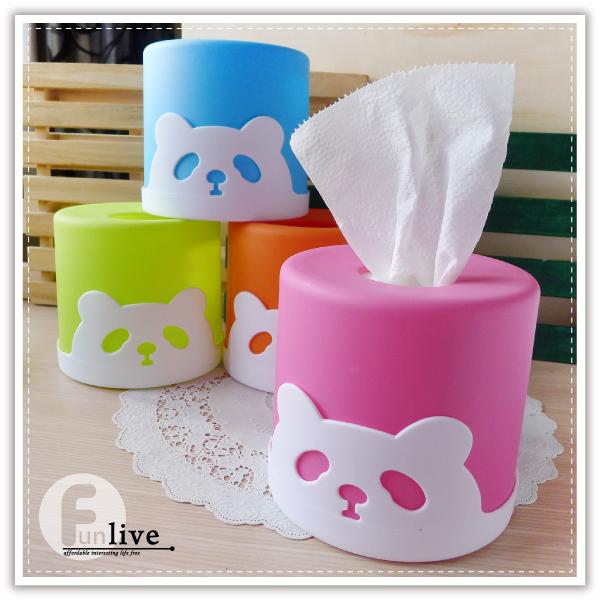 【aife life】圓筒熊貓面紙盒/滾筒 捲筒面紙/紙巾架/抽取式 衛生紙盒/餐巾紙盒/熊貓 貓熊 動物面紙盒