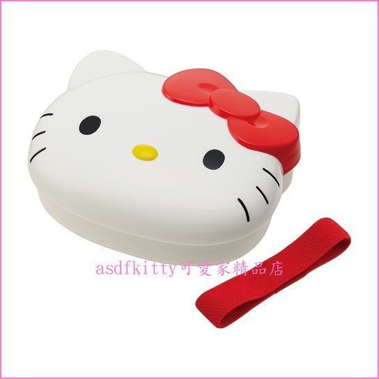 asdfkitty可愛家☆KITTY臉型紅蝴蝶結便當盒/水果盒/收納盒-可微波-有分隔盒-附束帶-日本正版商品