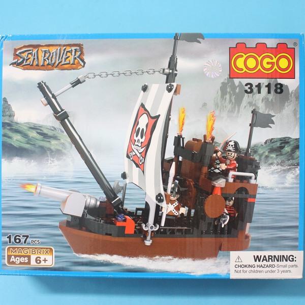 COGO 積高積木 3118 海盜船積木 CF120867 可與樂高混拼(中) 約167片入/一盒入{促350}