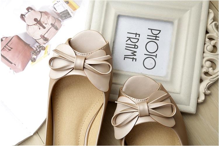 Pyf ♥ 超舒適 素雅珍珠光澤 魚口平底 優雅蝴蝶結娃娃鞋 42 43 大尺碼女鞋