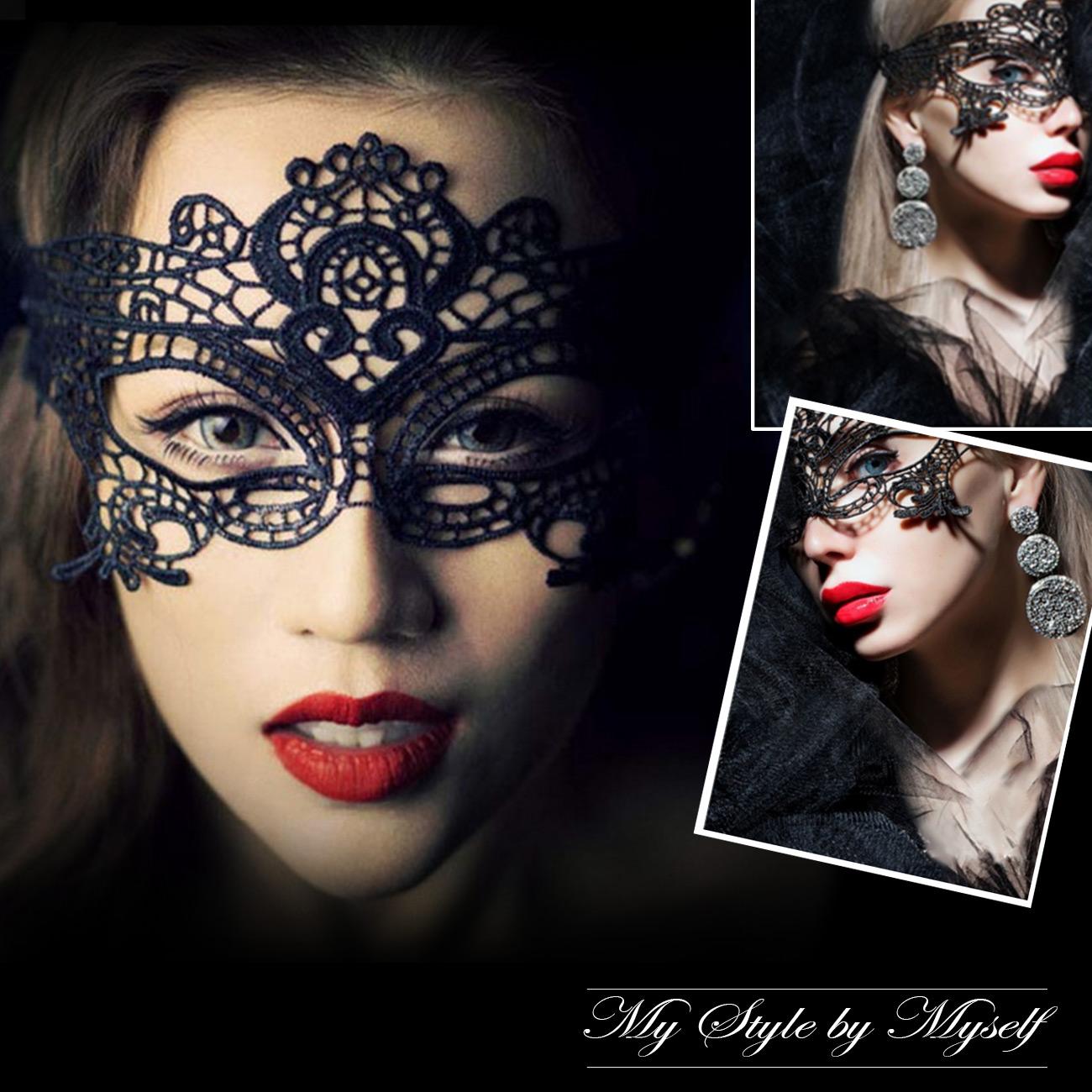女王面具眼罩 性感蕾絲 鏤空黑色 夜店時尚 角色扮演 情趣 睡衣 內衣 配件 GE0099
