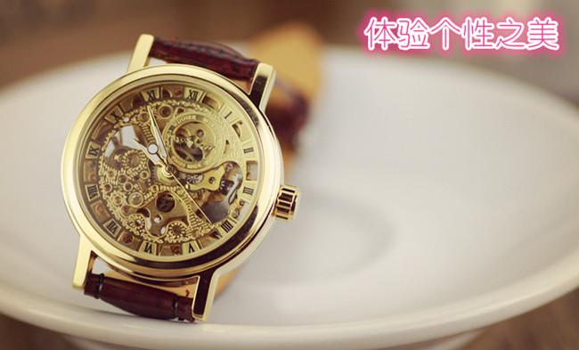 高貴女士手錶 經典復古全鏤空全自動機械表 夜光皮帶
