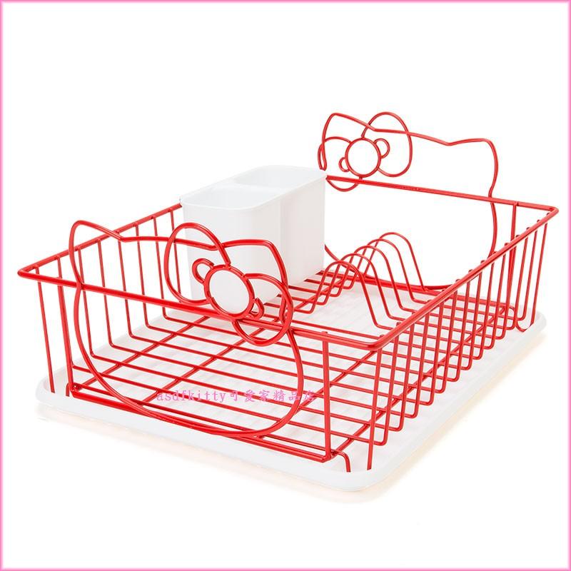 asdfkitty可愛家☆KITTY造型濾水籃/滴水籃/碗籃-含接水盤.筷架-內層是鋼-穩-日本正版商品
