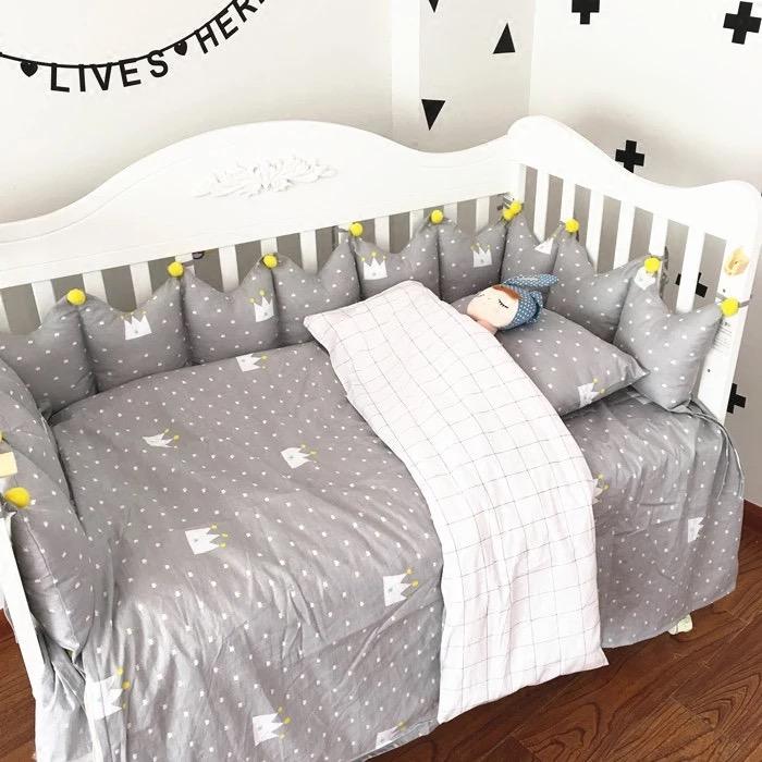 【doudoumiki】【純棉】皇冠造型嬰兒床圍床組(5件套/7件套)(3面圍/全圍)