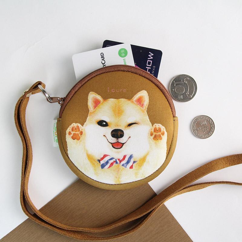 i money 咖啡色  頸繩零錢包 手繪風 - 領帶柴犬 狗- 聖誕節 交換禮物