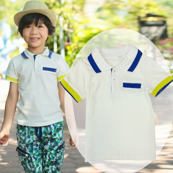 【班比納精品童裝】休閒藍邊領綠藍邊袖POLO衫-白【BD150325027】