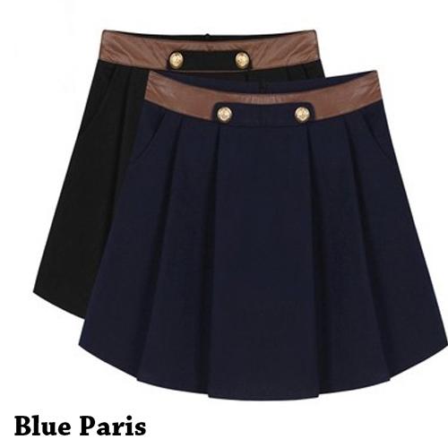 裙子 - 拼接皮革兩釦壓褶A字裙【23312】藍色巴黎《2色:M~L》現貨+預購