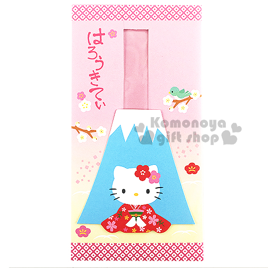 〔小禮堂〕Hello Kitty 紅包袋《抽拉式.粉.富士山.和服.櫻花.坐姿》財源滾滾來