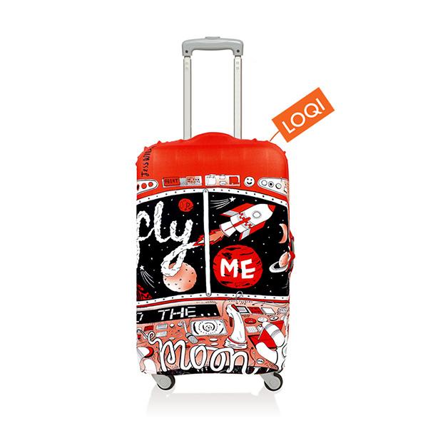 【加賀皮件】LOQI 行李箱套(M)-藝術系列 彈性伸縮可收納 旅行箱套 LQL005-M