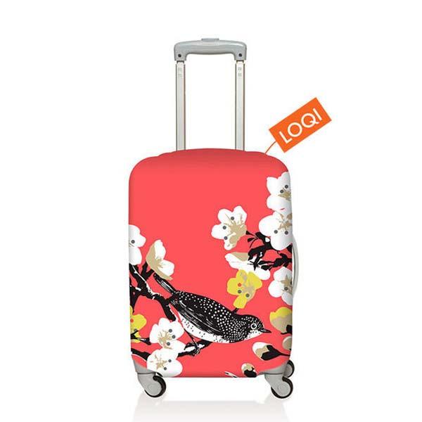 【加賀皮件】LOQI 行李箱套(S)-花系列 彈性伸縮可收納 旅行箱套 LQL002-S