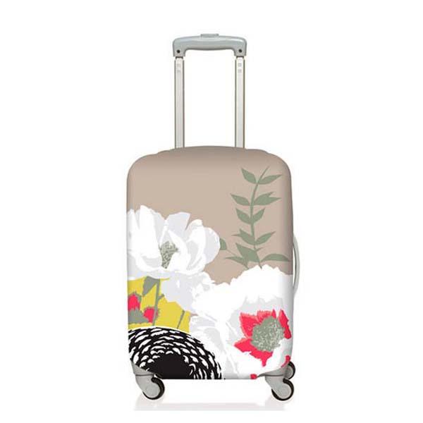 【加賀皮件】LOQI 行李箱套(M)-花系列 彈性伸縮可收納 旅行箱套 LQL002-M
