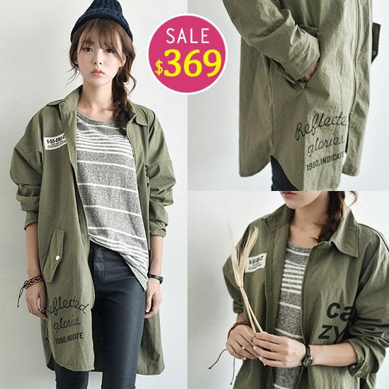 BOBO小中大尺碼【6451】長版軍裝風衣外套-共2色