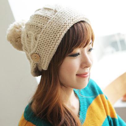 保暖麻花鈕扣針織毛球毛線帽