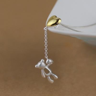 925純銀項鍊吊墜-愛心氣球可愛小熊七夕情人節禮物女飾品73gm10【獨家進口】【米蘭精品】