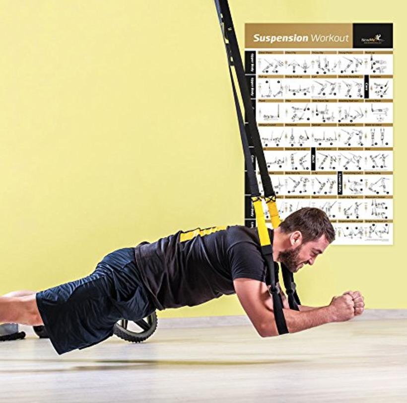 TRX懸掛式掛門可隨處吊掛使用健身訓練繩核心肌群訓練懸吊繩黑黃色專業版附教學視頻與收納盒帶子居家健身