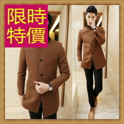 毛呢外套 男大衣-羊毛保暖短版男風衣62n33【韓國進口】【米蘭精品】