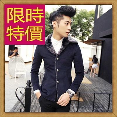 毛呢外套 男大衣-羊毛保暖短版男風衣2色62n61【韓國進口】【米蘭精品】