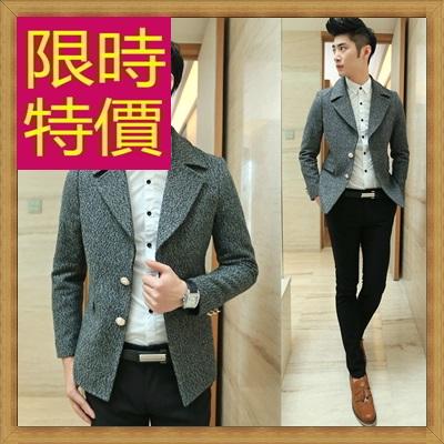 毛呢外套 男大衣-羊毛保暖短版男風衣2色62n64【韓國進口】【米蘭精品】