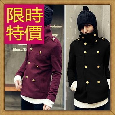 毛呢外套 男大衣-羊毛保暖短版男風衣3色62n65【韓國進口】【米蘭精品】
