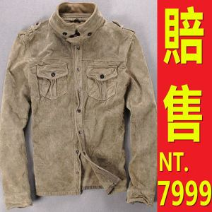 真皮皮衣 皮襯衫-復古磨砂皮立領男機車夾克64p1【義大利進口】【米蘭精品】