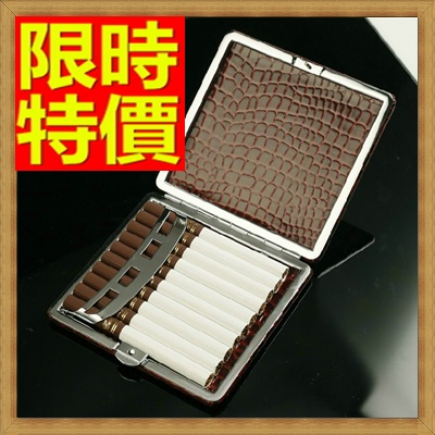 香煙盒 煙具-香菸盒鱷魚皮男士隨身自動按鈕10支裝菸具65a26【獨家進口】【米蘭精品】