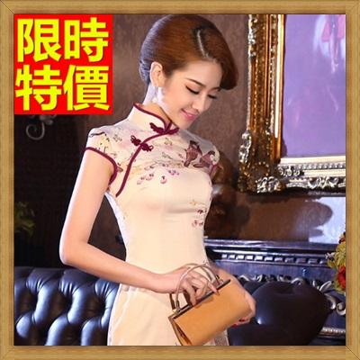 旗袍 短禮服-唐裝 栩栩如生雙鳥民族風中式女連衣裙65o35【獨家進口】【米蘭精品】