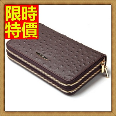 手拿包 錢包-手握舒適質感提升鴕鳥紋男皮包2色2款-雙拉65s15【獨家進口】【米蘭精品】