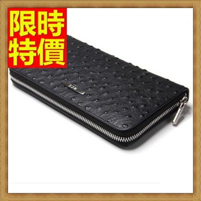 手拿包 錢包-手握舒適質感提升鴕鳥紋男皮包2色2款-單拉65s15【獨家進口】【米蘭精品】