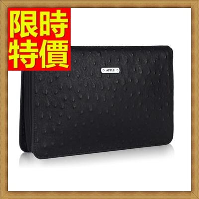 手拿包 錢包-歐美頂級純色休閒鴕鳥紋男皮包2色65s24【獨家進口】【米蘭精品】
