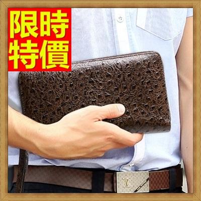 手拿包 錢包-簡約時尚雅致生活鴕鳥紋男皮包65s41【獨家進口】【米蘭精品】