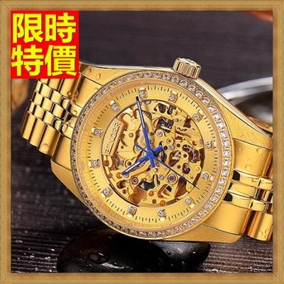 機械錶 手錶-陀飛輪自動精美鑲鑽鏤空精鋼男士腕錶2款66ab32【獨家進口】【米蘭精品】